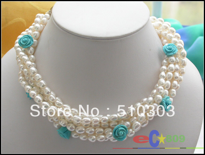 6 Strands WHITE RICE PEARL turquoise flower NECKLACE(China (Mainland))