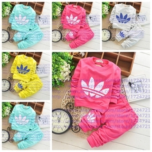 2015 Spring Fall Baby Clothing Sets Children Boys Girls Kids Brand Sport Suits Tracksuits Cotton Long Sleeve Shirt + Pants 2pcs(China (Mainland))