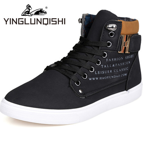 New 2015 High Top Sneakers For Men Canvas Flats Men Shoes Winter Casual Fashion Men Sneakers Zapatos Hombre Black Size 7-9.5(China (Mainland))