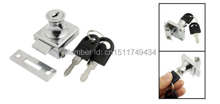 "Replacment Silver Tone Keyed Cabinet Lock for 2/5"" Hinged Glass Door(China (Mainland))"