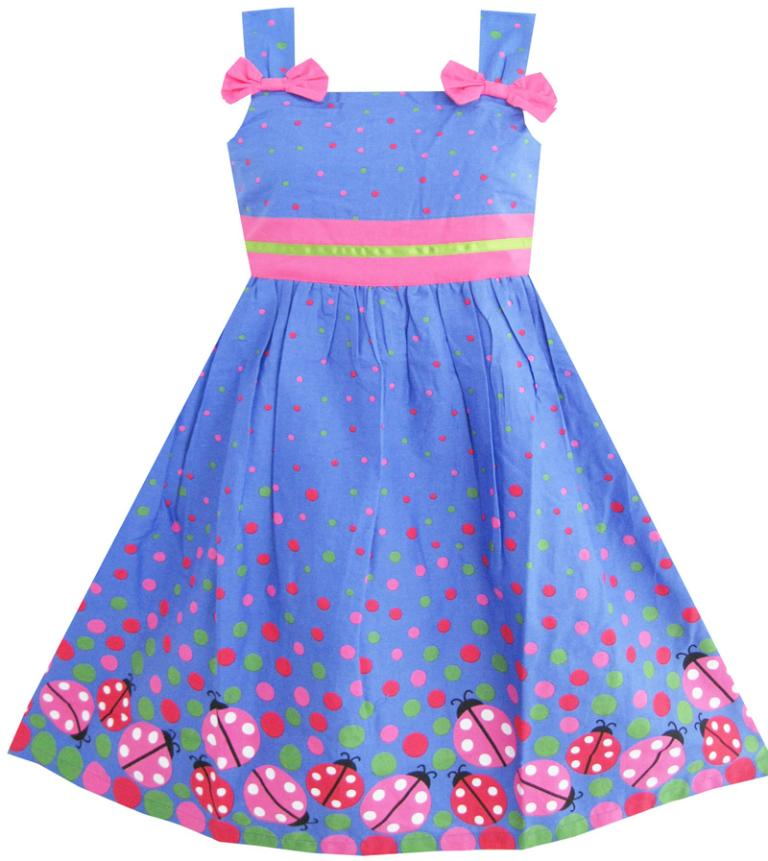 Girls Dress Little Girl Sleep In Flower Pattern Butterfly Blue 2016 Summer Princess Wedding Party Dresses Kids Clothes Size 7-14