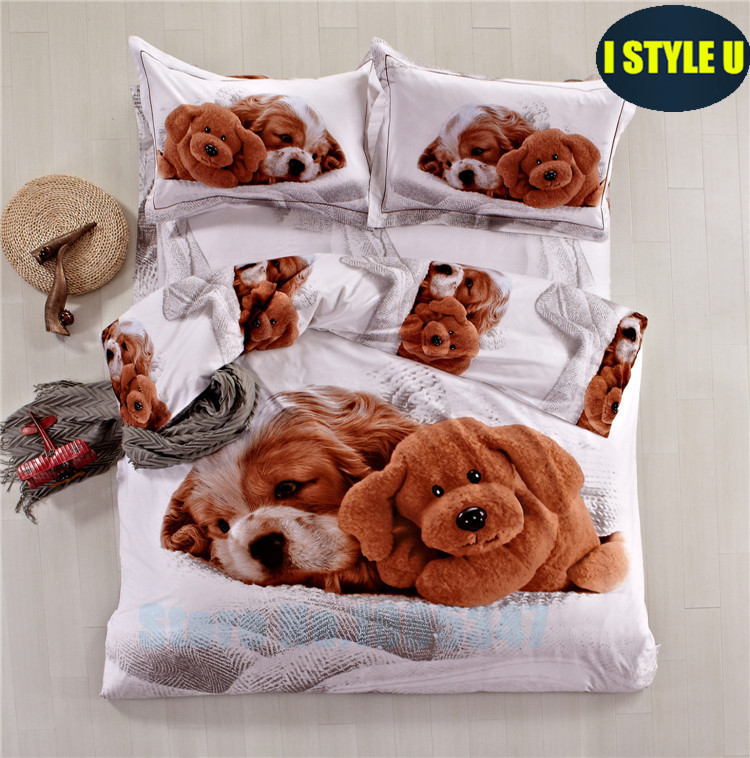 Two dogs print egyptian cotton 3d bedding sets bed linen 3d bed set twin queen king duvet cover set flat /fitted sheet sets LXG(China (Mainland))