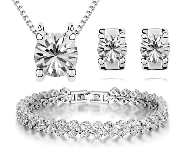 Top CZ Diamond Bracelet Earrings Necklace Set Luxury Jewelry Sets Women Bridal Jewellery White Gold Plated Quality Accessories(China (Mainland))
