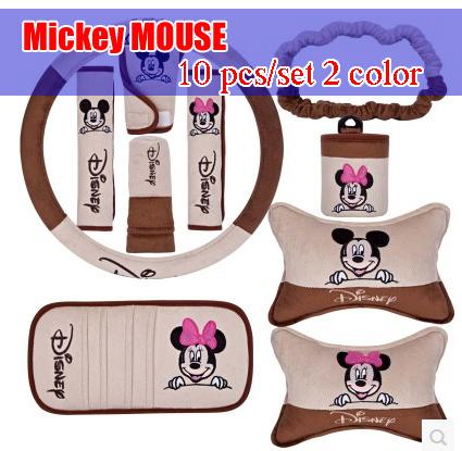 Mickey MOUSE car sedan supplies barrowload accessories car accessories decoration set decoration handbrake cover safety belt<br><br>Aliexpress