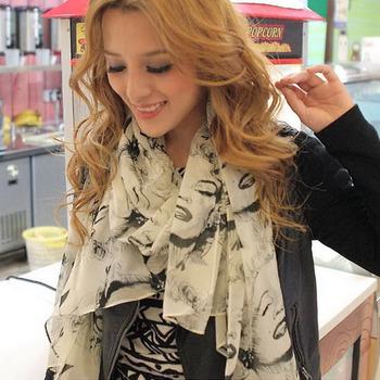 Hot Sexy Lip lady Womens Pretty Marilyn Monroe Head Print Beauty Velvet Chiffon Scarf Shawl Wrap Gift Free Shipping