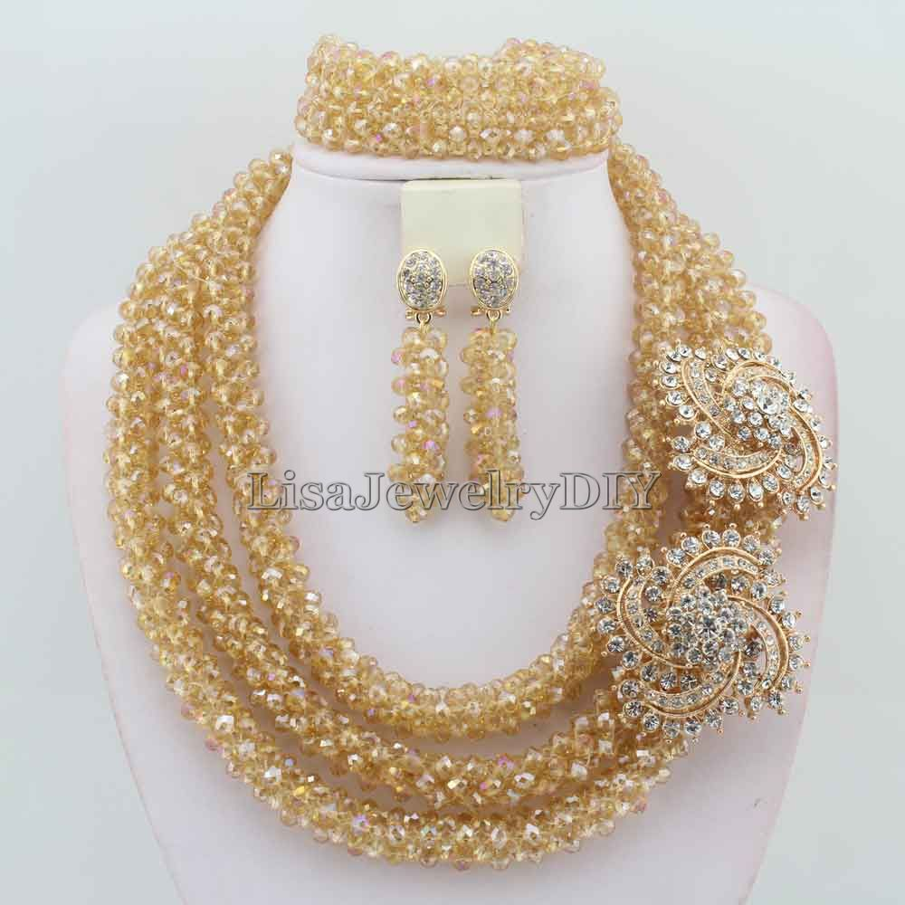 African Costume Necklace Set Crystal Beads Jewelry Set Nigerian Wedding Beads Jewelry Set HD5287<br><br>Aliexpress