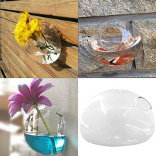 New Creative Semicircular Wall Hanging Glass Flower Vase Hydroponic Container Fish Tank Home Wedding(China (Mainland))