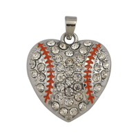 Heart rhinestone baseball pendant for bracelets rhodium plated 26*29 mm