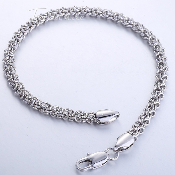5 6mm 18K White Rose Gold Filled Bracelet Swirl Twist Rolo Link Chain Bracelet Mens Womens