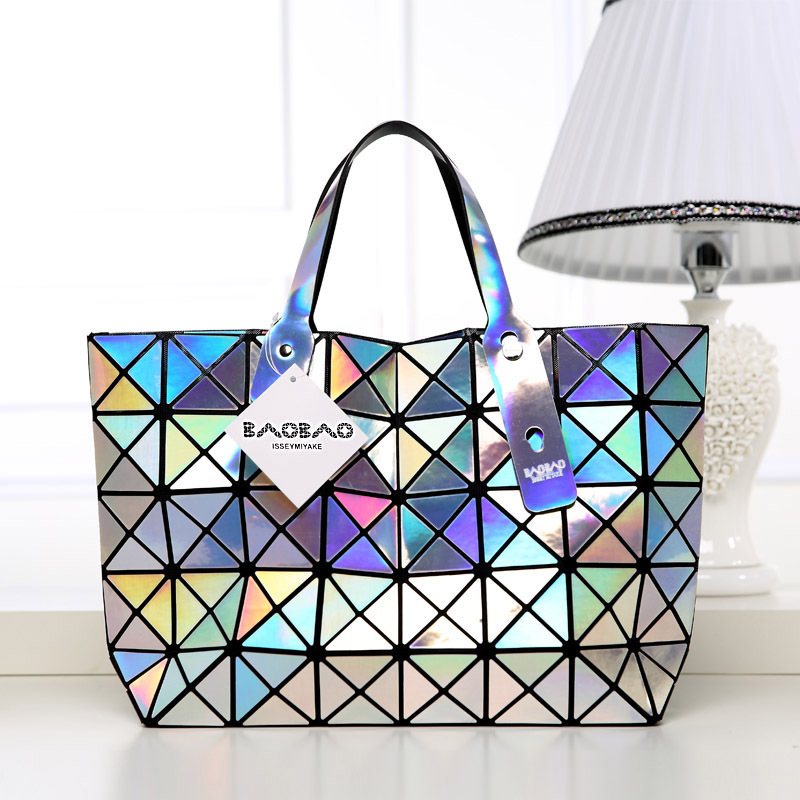 2015 New Fashion BAOBAO Bag Ladies Geometric Plaid Laser Women Handbag Famous Brand Designer Tote Bag Shoulder Bag For Women(China (Mainland))