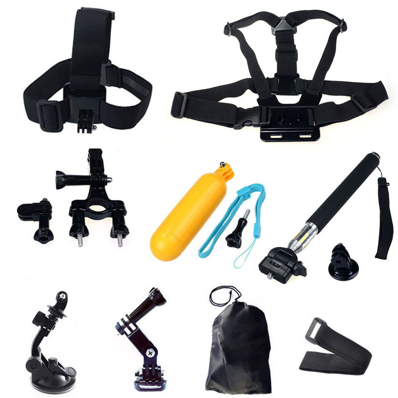 Gopro Hero Accessories Set Helmet Floating Selfie Stick Monopod Chest Belt Head