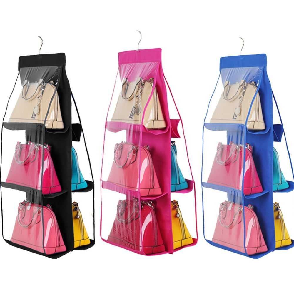 Hanging 6 Pockets Handbag Closet Anti-dust Cover Clear Bag Organizer Purse Holder Collection Shoes Save Space(China (Mainland))