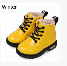 Girls shoes autumn Winter Children Shoes PU Leather Waterproof Martin Boots Kids Snow Boots toddler Girls Boys Rubber Sneakers(China (Mainland))