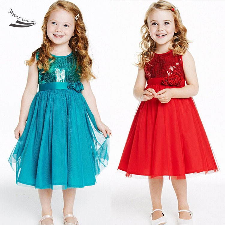 New Girls Dress,Red Roses Sequined Princess Costume Summer Girls Vestido Dresses 2016 New Arrive Free Shipping(China (Mainland))