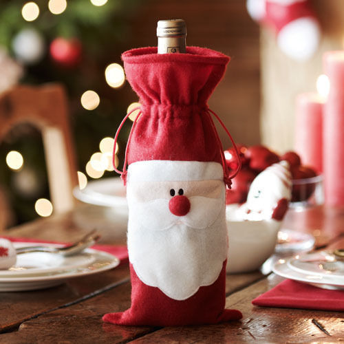 1Pcs Xmas Santa Claus Red Wine Bottle Cover Bags Christmas Table Dinner Decoration Home Party Decors(China (Mainland))