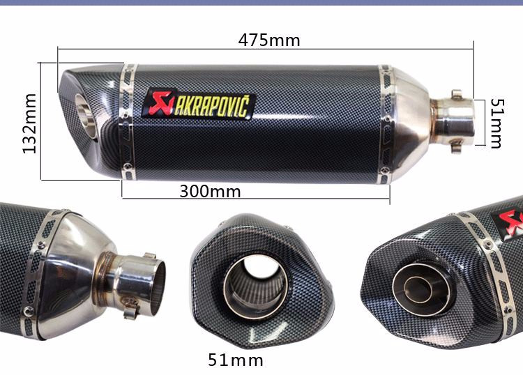 Universal 51mm Big Size Akrapovic Yoshimura Motorcycle Muffler Exhaust with Double Exhaust Hole CB600 CB400 CB250 CBR400 CBR1000