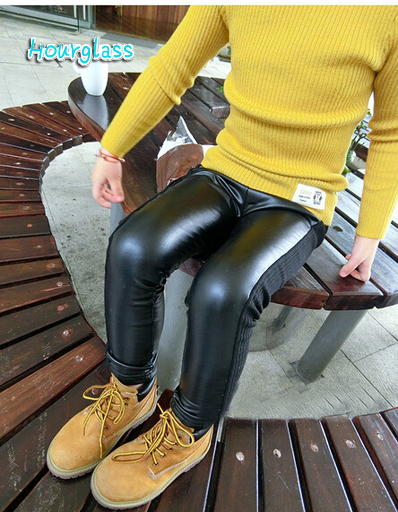 skinny black kid leather pants girl legging baby legging/leggins child fantasia infantil
