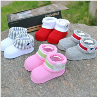 Wholesale Solid Fake Shoes Cotton Baby Socks Stars New Born Children's Socks 5 Colors No Box(China (Mainland))
