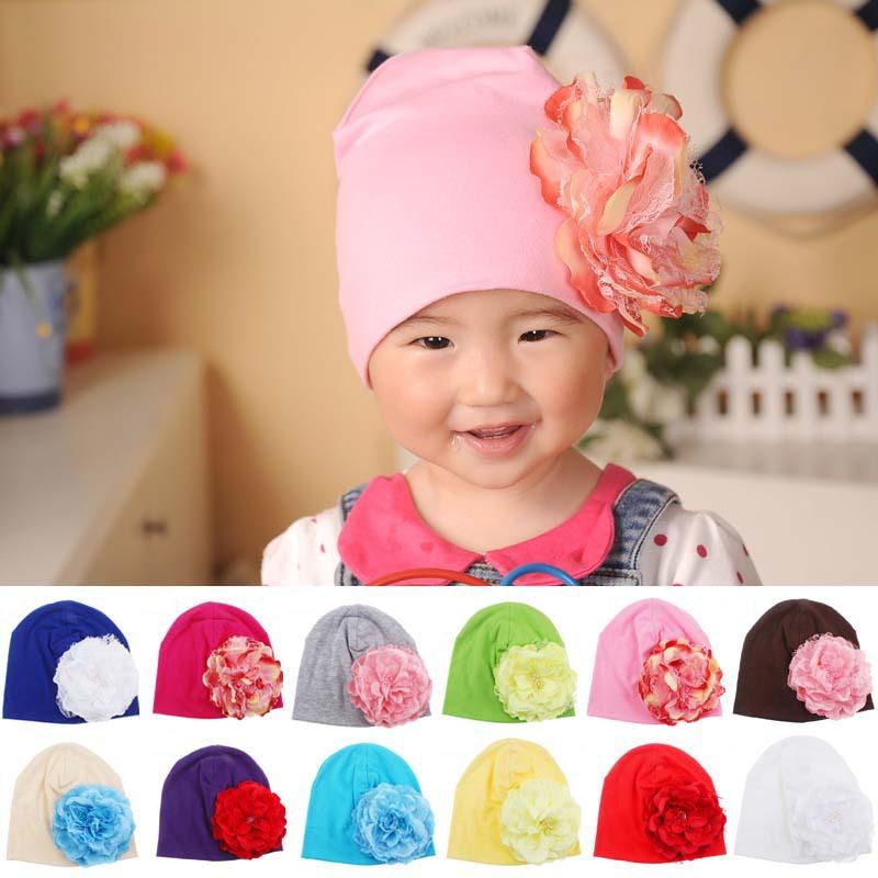 Baby Flower Hat Newborn Girl Cotton Beanie Cap Peony Flower Infant Spring Hat Children Accessories Retail