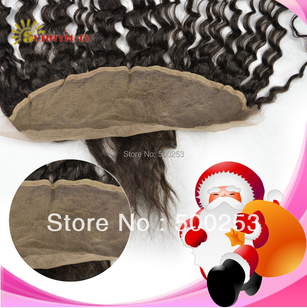 Virgin Brazilian Human Hair Piece Lace Frontal With Bang Deep Wave Natural Color Lace Frontal In Stock(China (Mainland))