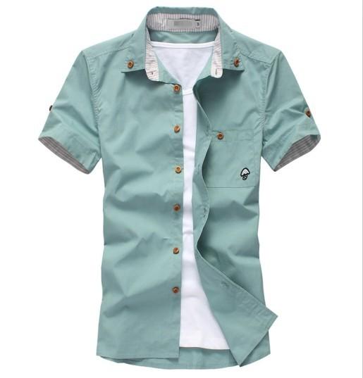 2015 summer men 's fashion men' s thanks casual short sleeve shirt - men 's clothing trend slim men' s shirt(China (Mainland))