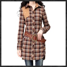 Yuzi 2015 New Vintage Retro Elegant Turn-down Collar  Plaid Patchwork Long Women Blouse Coat  B9029 Women's Clothing(China (Mainland))
