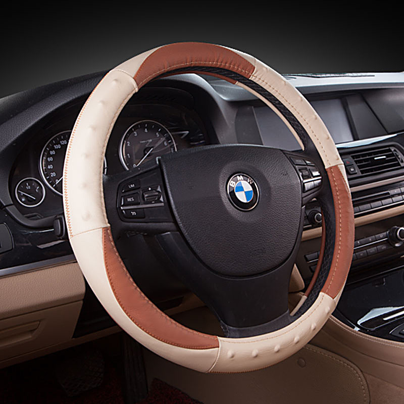 Hotsale Genuine Leather massage steering wheel cover for car suv truck size: M 38cm GFCFZ-015-A3(China (Mainland))