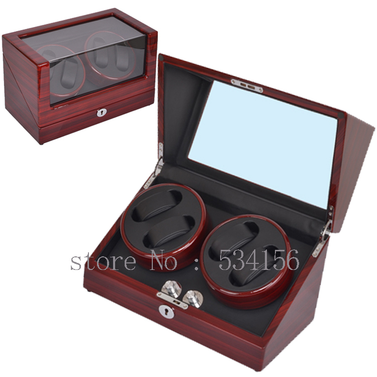 Free shipping wooden watch winder with high gloss piano paint, automatic watch winder organizer, 2015 new watch show jewelry box(China (Mainland))