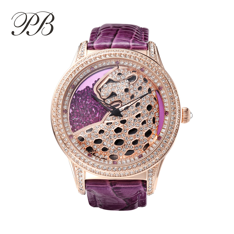 2016 watch womenfolk with Crystal Element Luxury Leopard Diamond lady quartz-watch with stainless steel case OEM(China (Mainland))