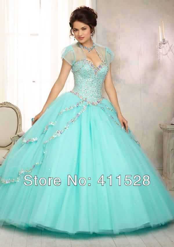 Quinceanera Dresses 2014 Mint Multi Colored Jewel Be...