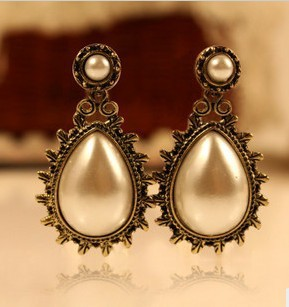 Exquisite Earring Jewelry Women Lady Party Dress Vintage Trendy Elegant Beauty Lace Tray Cameo Water Drop Pearl Earring Stud(China (Mainland))