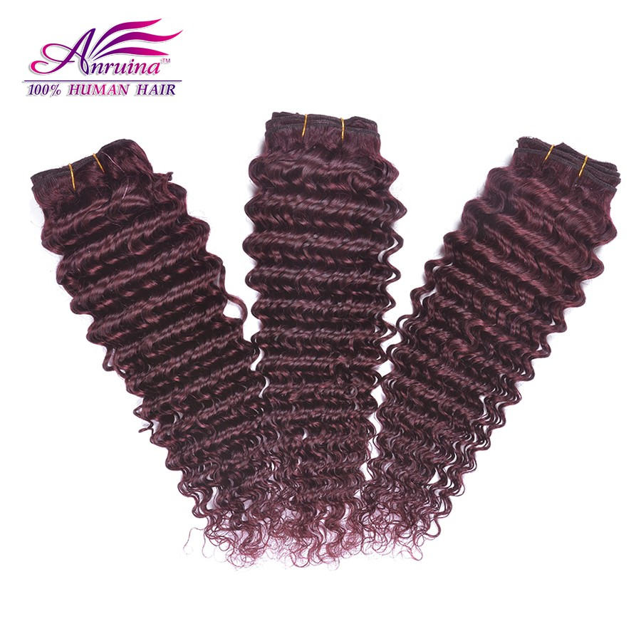 7A Red 99j Brazilian Remy Hair Deep Curly Hair Extensions 3 Pcs/Lot Deep Wave Hair Weft Burgundy Brazilian Virgin Hair Bundles