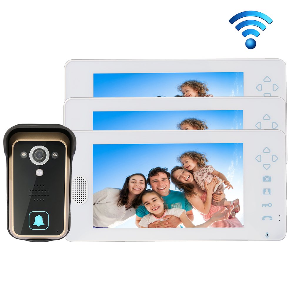 """Free Shipping 2.4GHZ Wireless 7"""" Touch Color TFT LCD Video Intercom Door Phone 1 Waterproof Doorbell Camera + 1 White Monitor(China (Mainland))"""