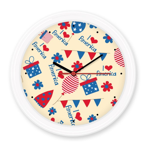 USA America Candy Gift Festival Flower Love Heart Silent Non-ticking Round Wall Decorative Clock Home Decal Wedding Decoration