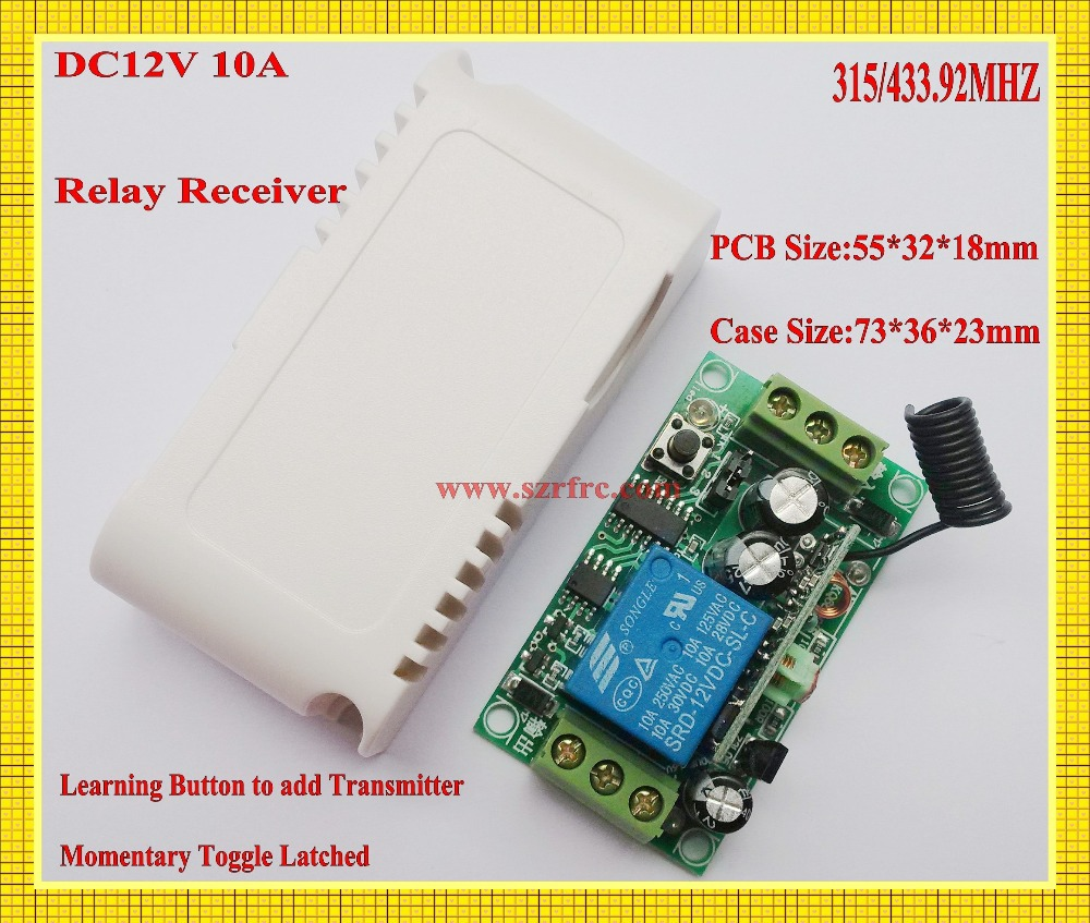 Гаджет  DC 12V 1 CH Relay Receiver Wireless Remote Control Switch 315/433.92 RF Radio Frequency RX Learning  Momentary Toggle Latched  None Электротехническое оборудование и материалы