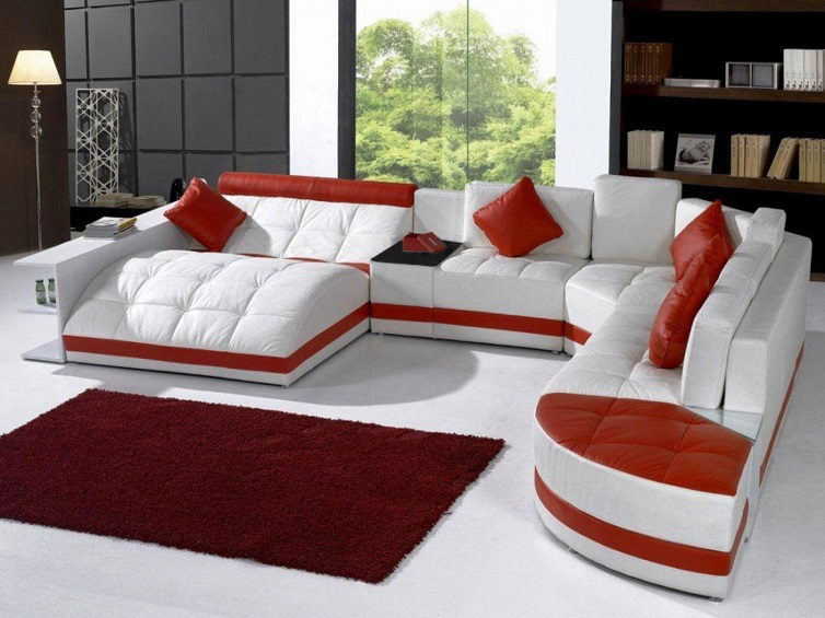 Modern White Red Sofa Living Room Sofa Set Modern Leather Sofa Foshan A2001 In Living Room Sofas