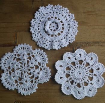 Free Shipping 100% cotton hand made crochet doily tablecloth , 3 designs colors custom , cup mat Pads 10-11 cm crochet applique