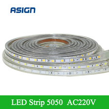 Buy Fashion SMD5050 Led Strip Light 220V IP67 Waterproof LED Flexible Light White/Warm White/Red/Green/Blue Include EU power plug for $3.48 in AliExpress store