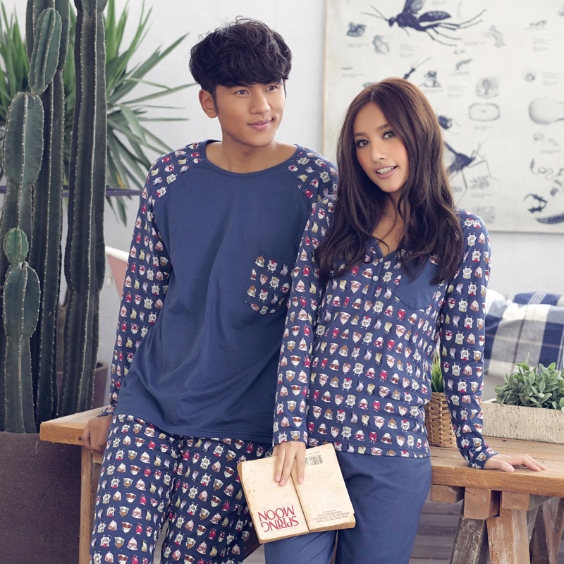 Song Riel cute cartoon couple long sleeved cotton pajamas home service men and women comfortable suite