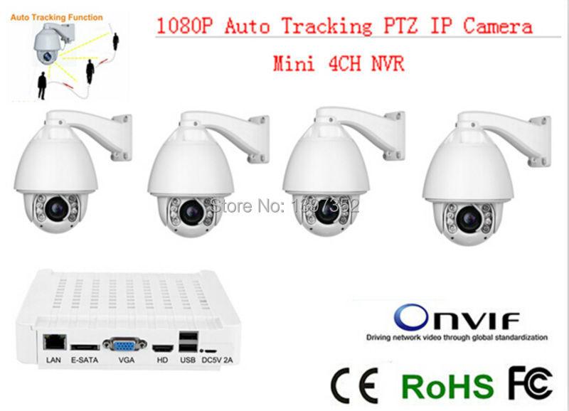 4PCS IP Camera with mini nvr auto tracking ptz FULL HD 1080P ip camera ir 150m high speed dome ptz CCTV Camera mini 4ch NVR kit(China (Mainland))