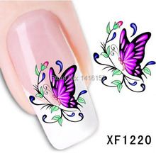 Min.order is $10 (mix order) Water Transfer Nail Art Stickers Decal Beauty Pink Butterfly Flowers Design Manicure Tools