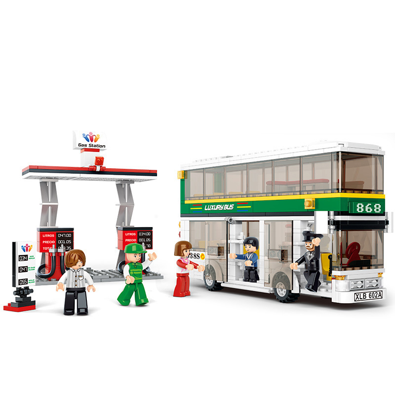 Sluban 0331 city buses compatible with LE Double Deck School City Bus building blocks DIY toys educational toys for children(China (Mainland))
