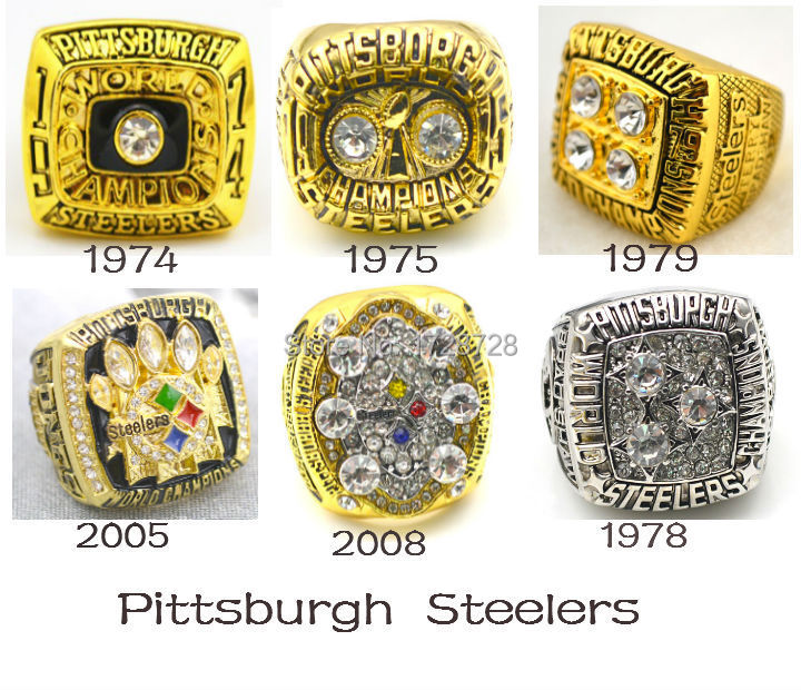 Free Shipping A set 1974 1975 1978 1979 2005 2008 Pittsburgh Steelers Super Bowl Championship Rings 6PCS solid for fans(China (Mainland))