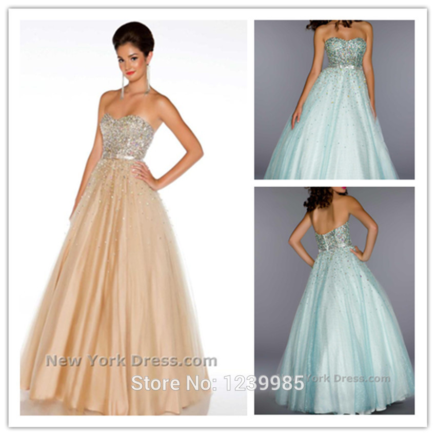 New Arrival Sexy Sweetheart Champagne Beaded Long Tulle Ball Gown Prom Dresses Party Gowns Latest Designer Dress(China (Mainland))