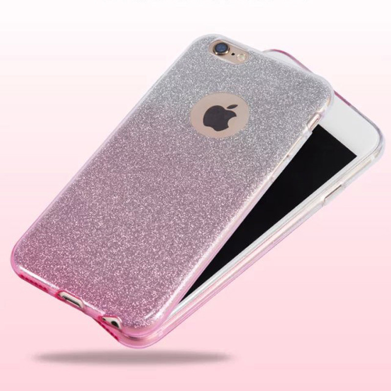 Hot! Diamond Flash Glitter Ultra-thin Soft Phone cases for iphone 6 6s 6plus 6s plus with Gradient Color Design Matte cover(China (Mainland))