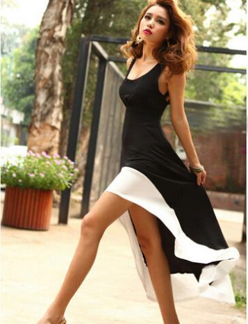 Women Summer Dress Black Women Dress High Low Dress Roupas Femininas Vestidos Femininos 2015 Vestidos Casual Free Shipping(China (Mainland))