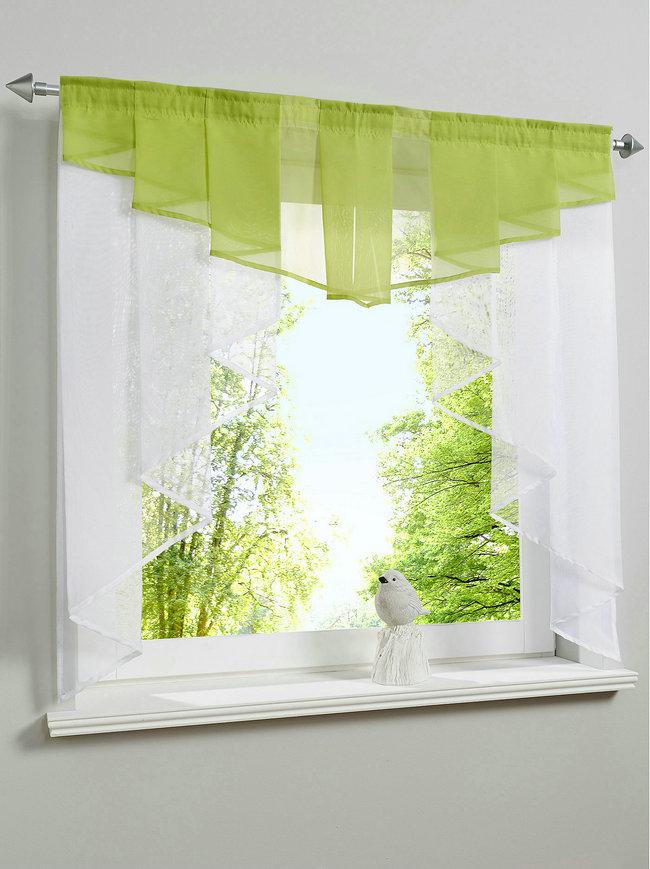 Fashion Pleated Design Stitching Colors Tulle Balcony Kitchen Window Curtain  One Set(China (Mainland))