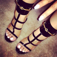 Elegant Red/White/black glossy patent leather ankle strap sandals crisscross strappy T-bar gold sequined summer shoes high heel