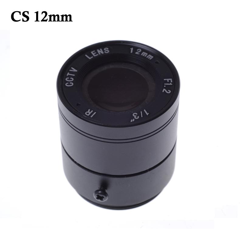 "Wholesale CCTV CS lens 12mm 26.2 degree 1/3"" F1.2 CCTV Fixed Iris IR Infrared CS Mount Lens Security CCTV Camera"