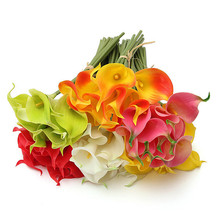2015 Multicolor 10Pcs/Bouquet Artificial PU Calla Lily Flowers Real Touch Bouquet Wedding Bridal Decor Display Flower (China (Mainland))